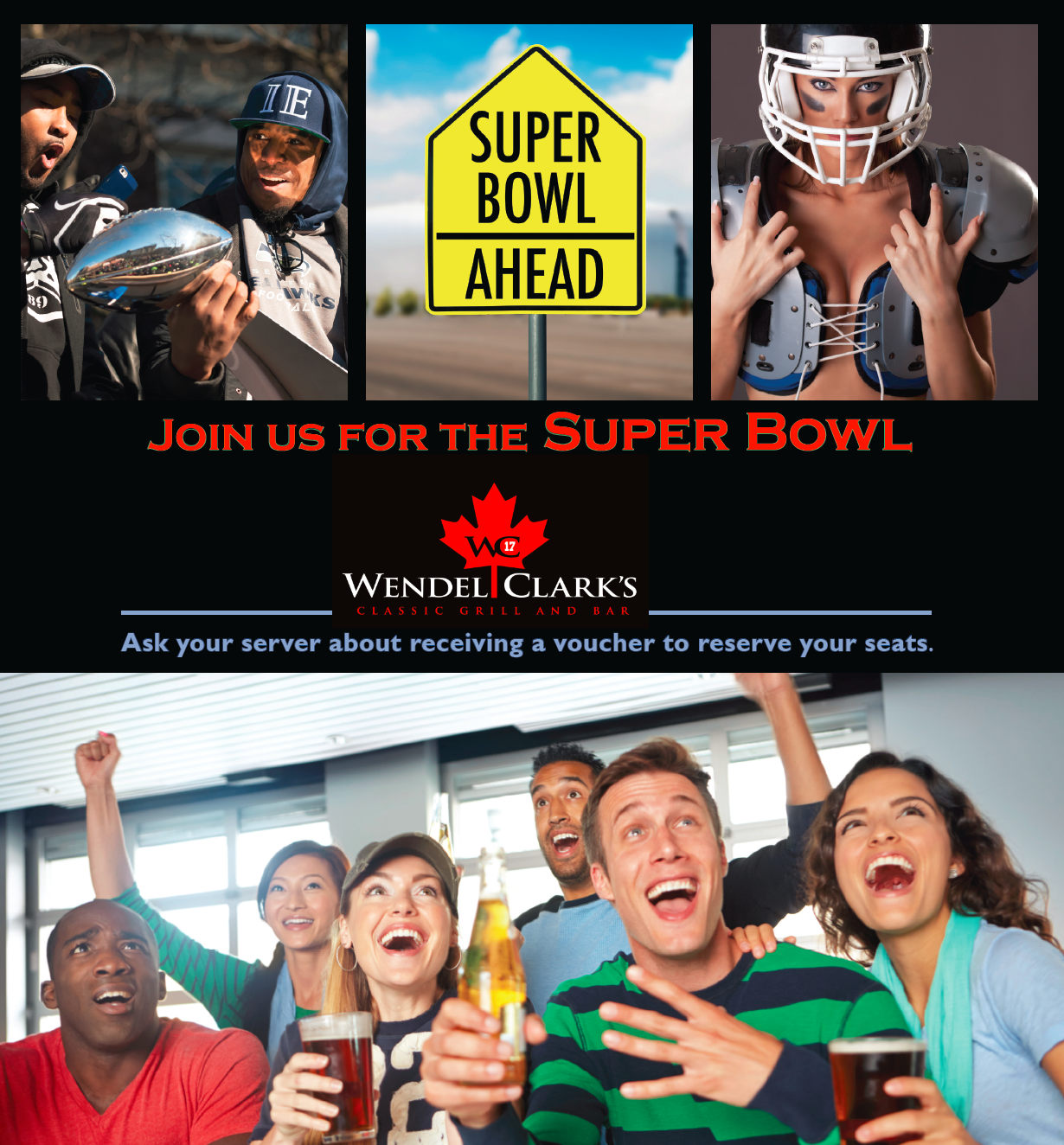 Join us for the Super Bowl at Wendel Clark's