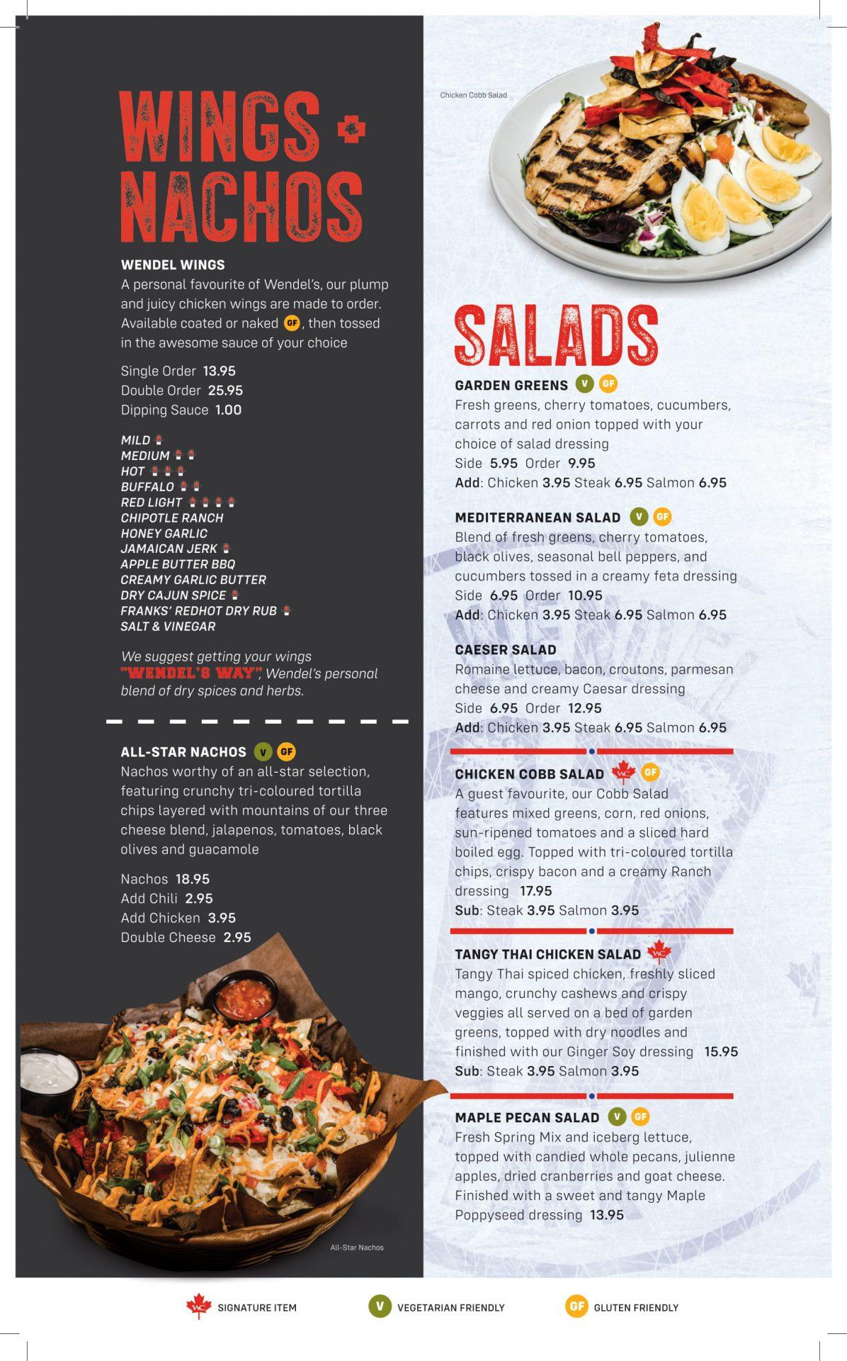 Dinner Menu - Wings, Nachos & Salads (Updated)