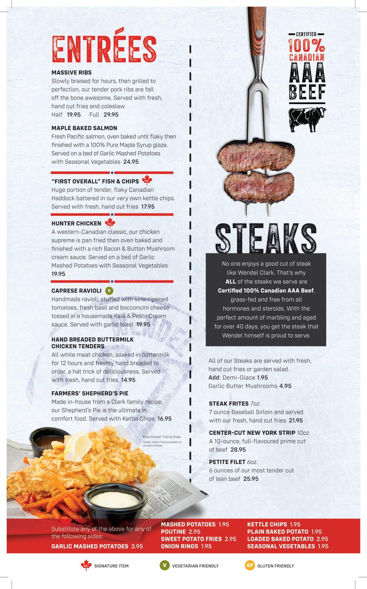 Dinner Menu - Entrees & Steaks (Updated)